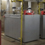 Commercial HVAC unit in storage room